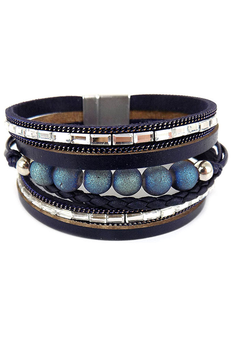 Blue and Silver Bead Multi-Strand Magnetic Bracelet