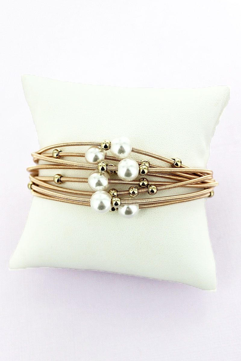 Pearl and Goldtone Beaded Multi-Strand Spring Coil Bracelet