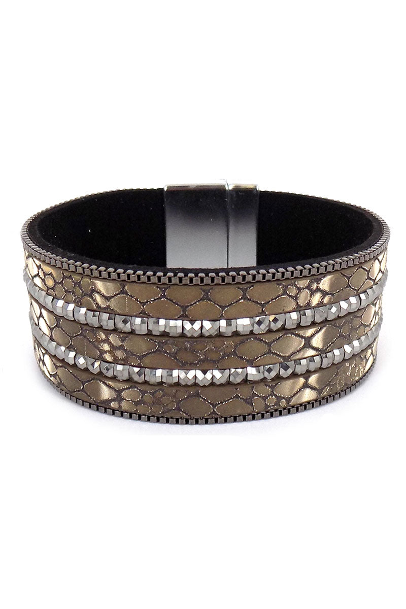 Hematite Crystal and Snakeskin Stripe Magnetic Bracelet