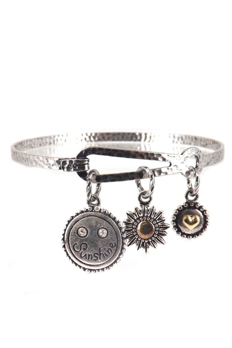 Burnished Silvertone 'You Are My Sunshine' Charm Bracelet