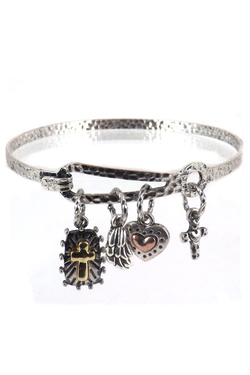 Burnished Silvertone 'Faith' Charm Bracelet