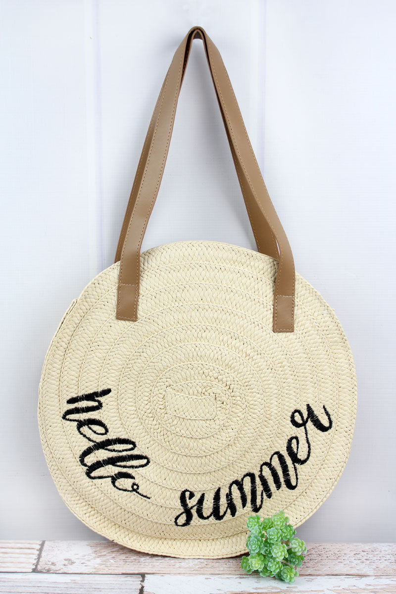 Ivory 'Hello Summer' Round Straw Bag