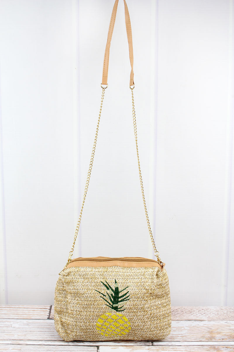 Embroidered Pineapple Straw Crossbody Bag