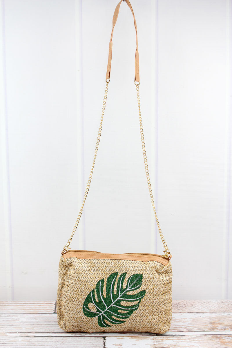 Embroidered Palm Leaf Straw Crossbody Bag