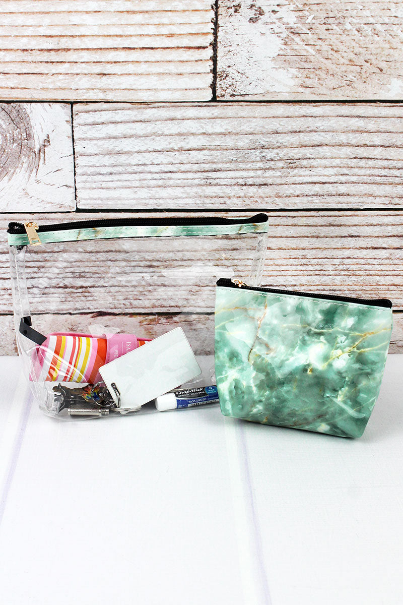 Mint Marble and Clear 2 Piece Cosmetic Bag Set