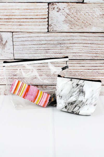 White Marble and Clear 2 Piece Cosmetic Bag Set