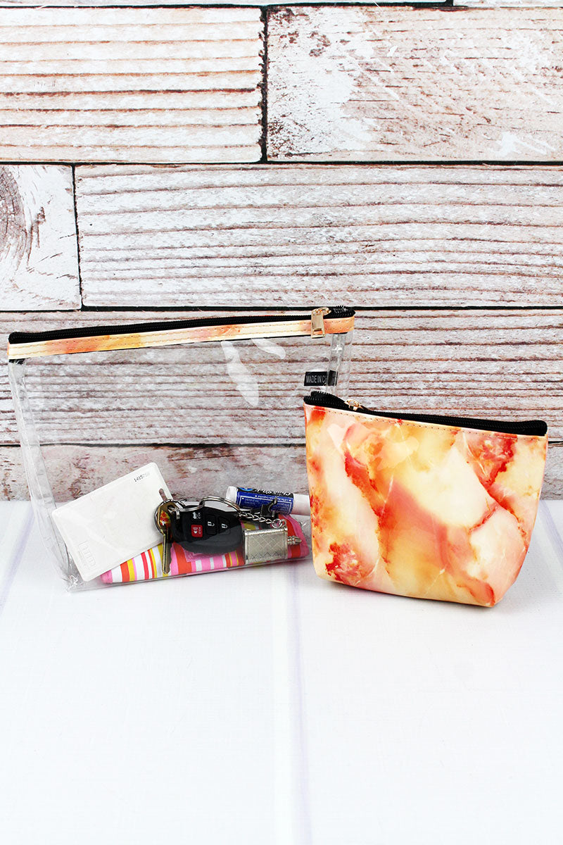 Coral Marble and Clear 2 Piece Cosmetic Bag Set