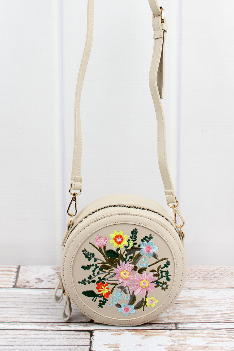Embroidered Flowers Nude Canteen Crossbody