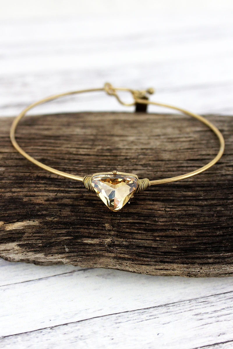 Champagne Triangle Gemstone Goldtone Bracelet