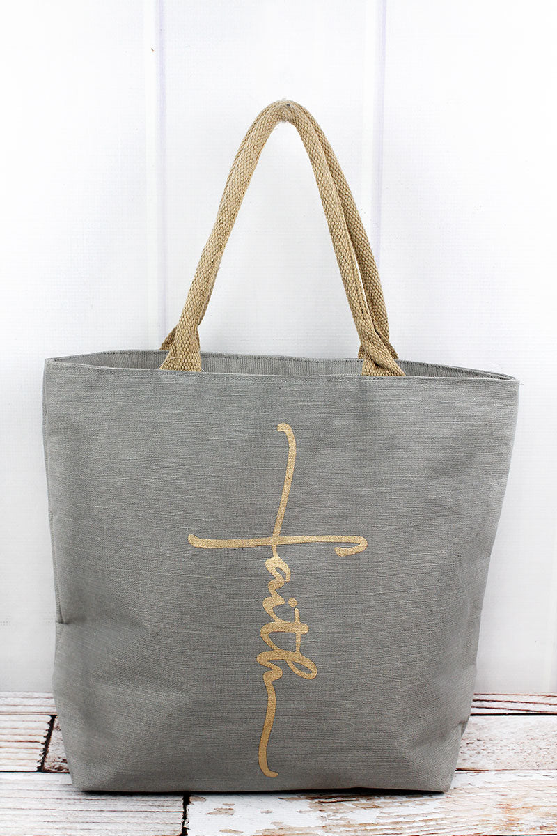 Gray and Gold Faith Cross Essential Tote