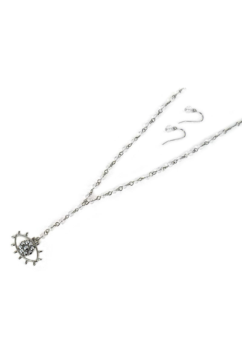 Crystal Silvertone Evil Eye Beaded Y Necklace and Earring Set