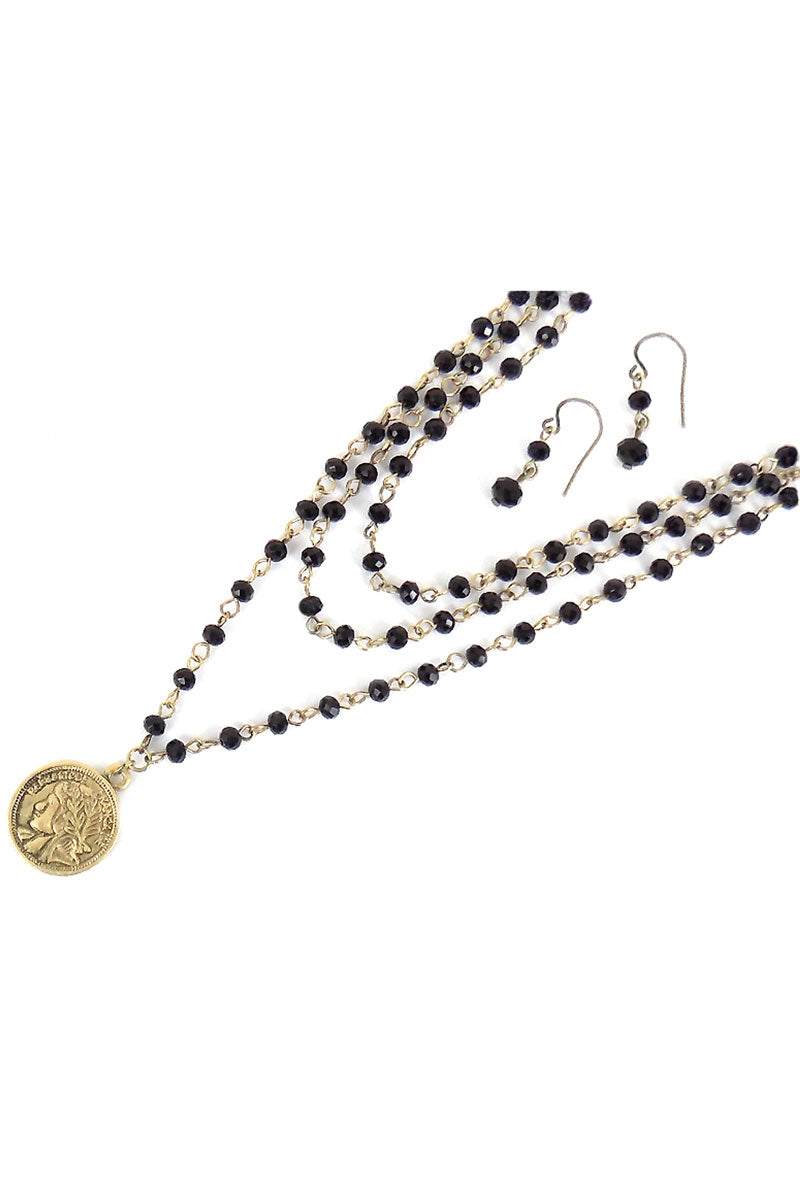 Layered Black Beaded Goldtone Coin Necklace and Earring Set