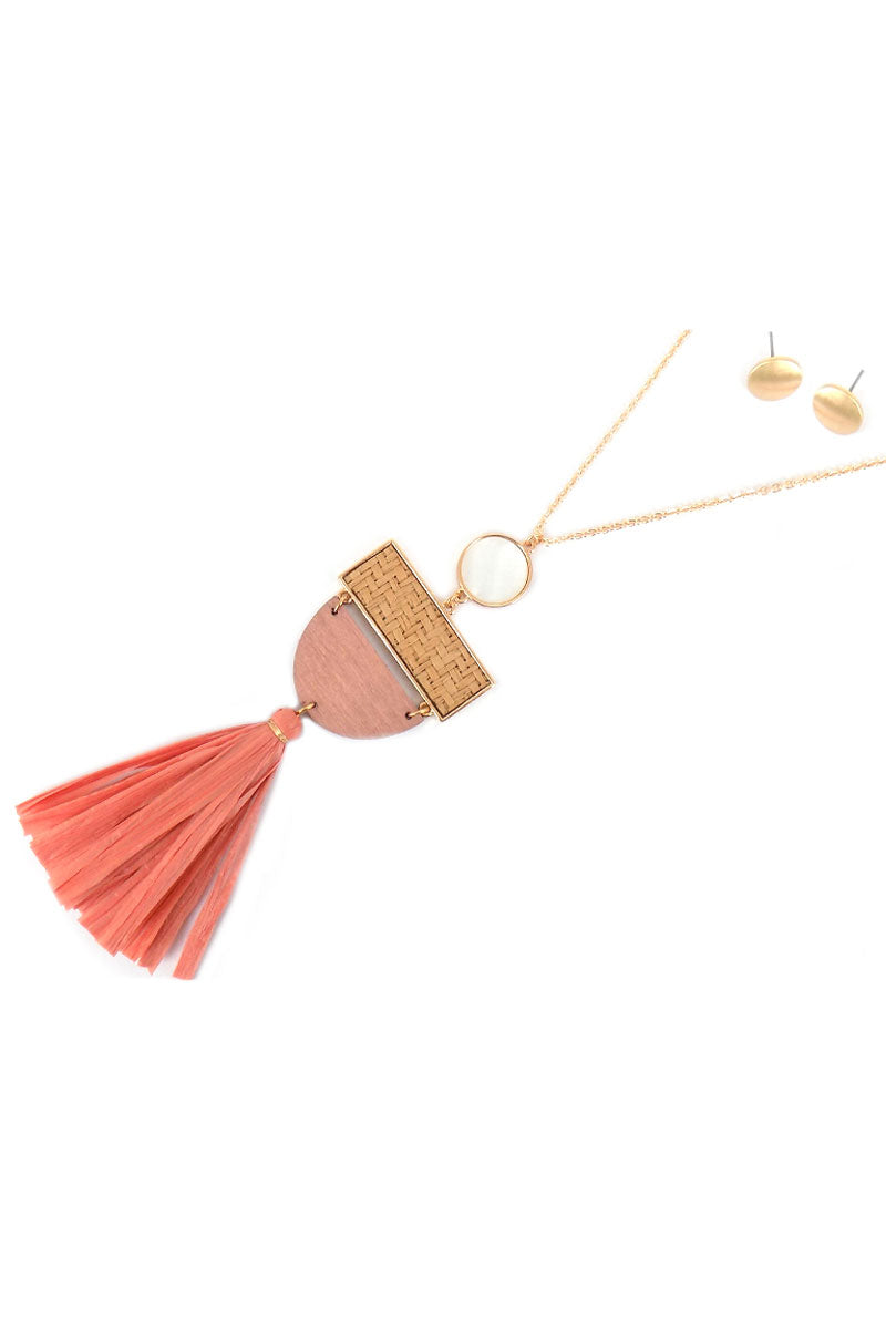 Raffia and Pink Half Moon Tassel Necklace and Earring Set