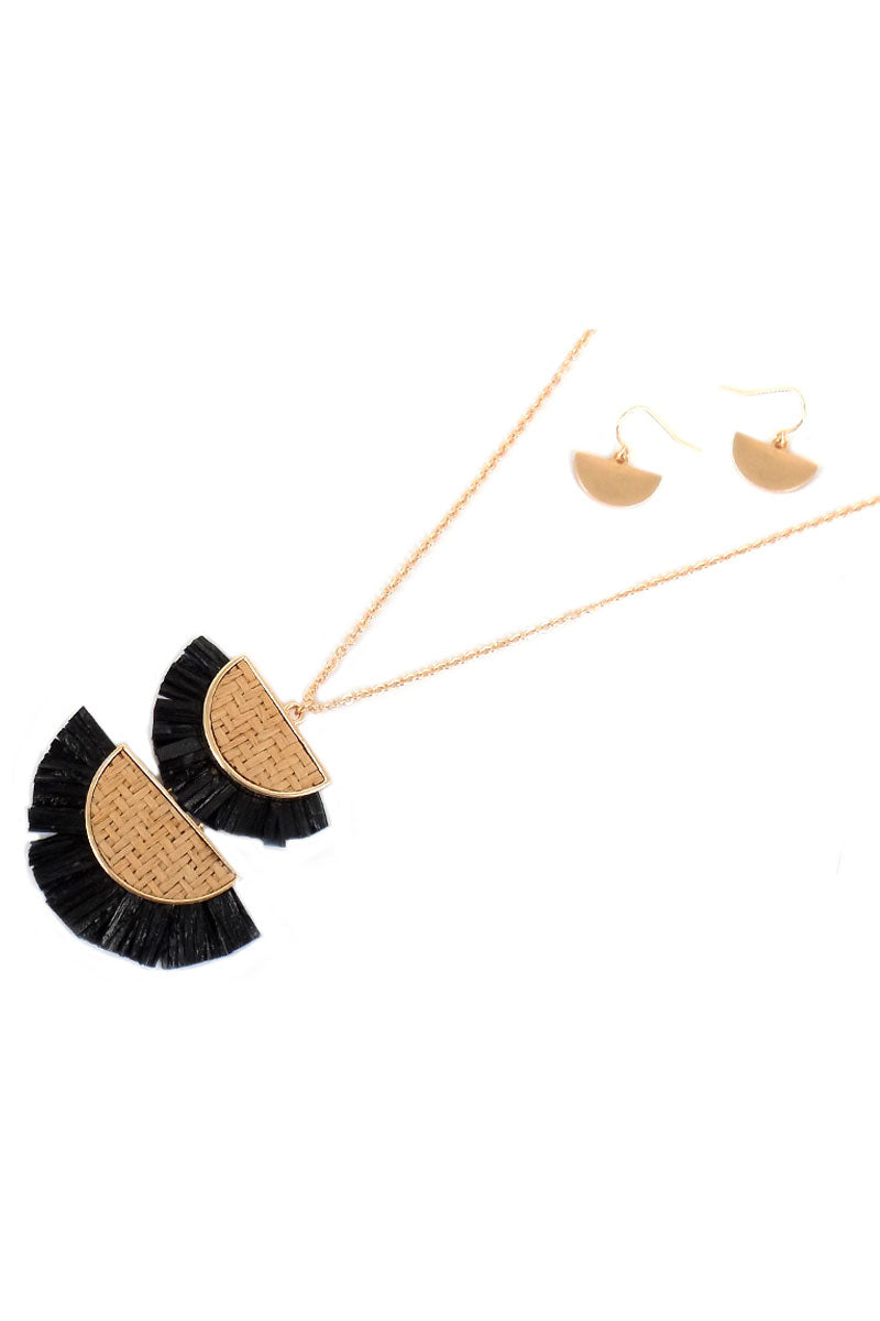Black Double Half Moon Rattan and Raffia Necklace and Earring Set