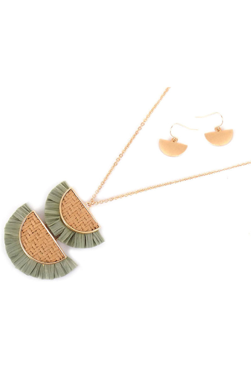 Green Double Half Moon Rattan and Raffia Necklace and Earring Set