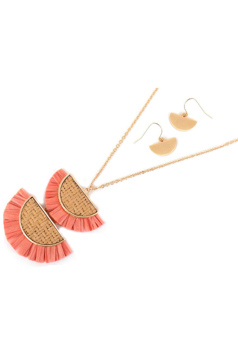 Pink Double Half Moon Rattan and Raffia Necklace and Earring Set