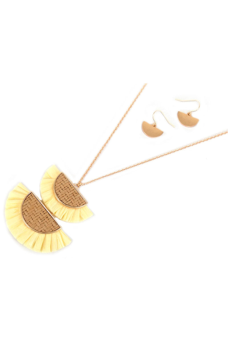 Yellow Double Half Moon Rattan and Raffia Necklace and Earring Set