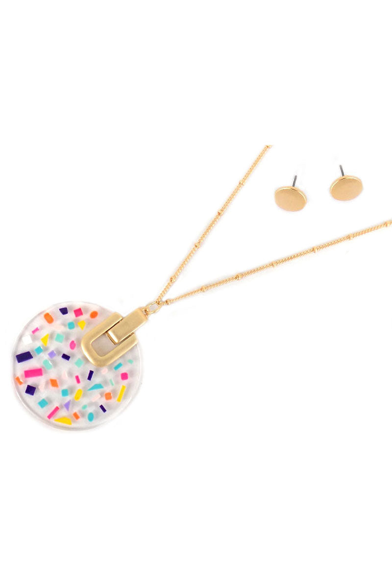 Multi-Color Confetti Disk Goldtone Necklace and Earring Set