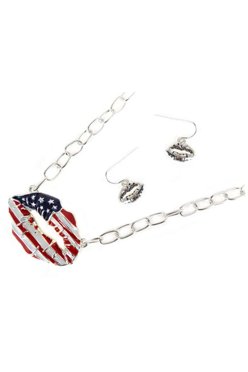 Patriotic Lips Silvertone Necklace and Earring Set