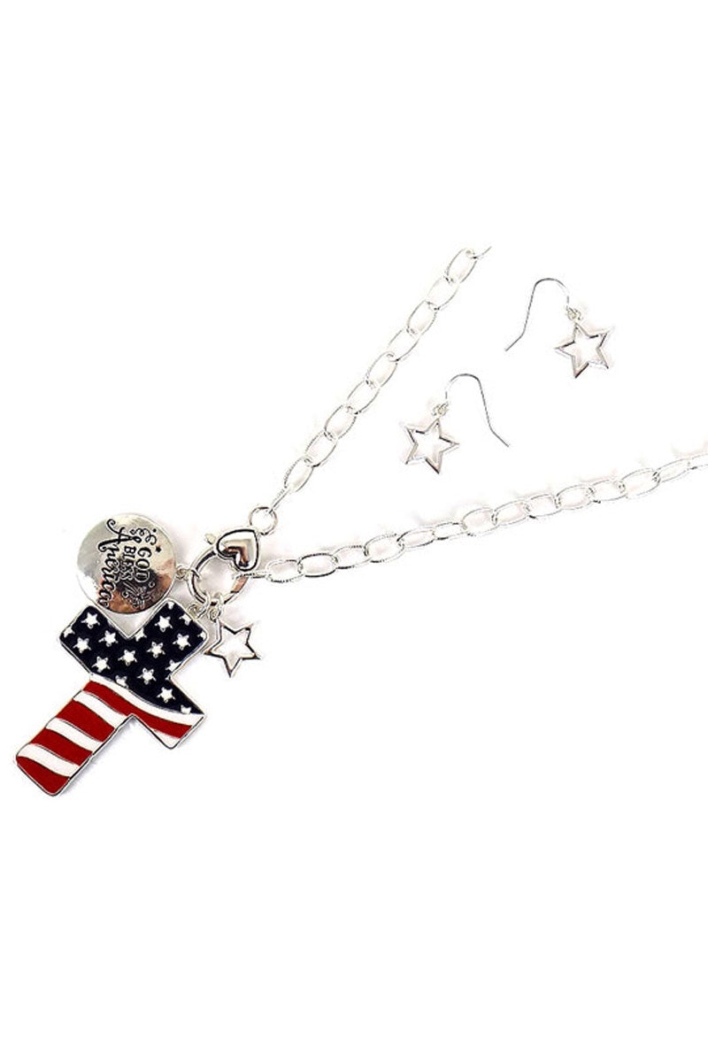 Patriotic Cross Silvertone Necklace and Earring Set