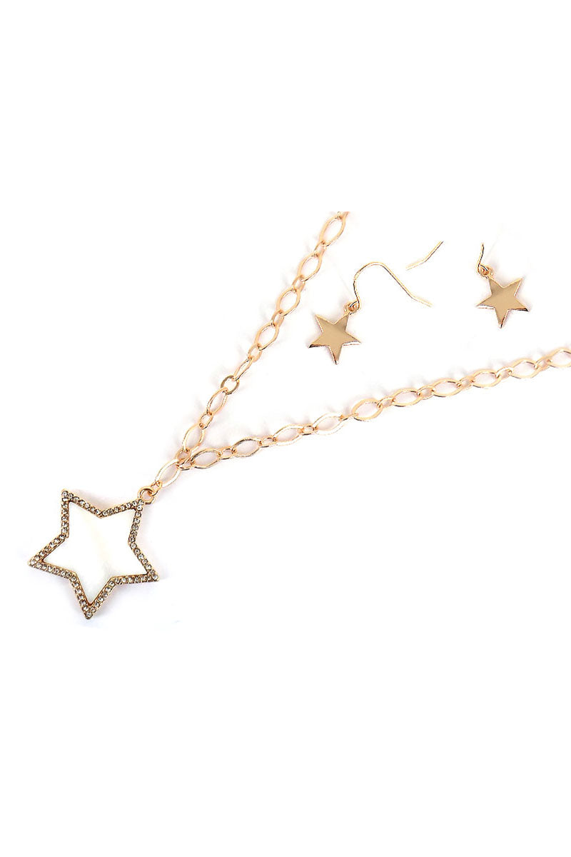 Crystal Trimmed Mother of Pearl Star Goldtone Necklace and Earring Set