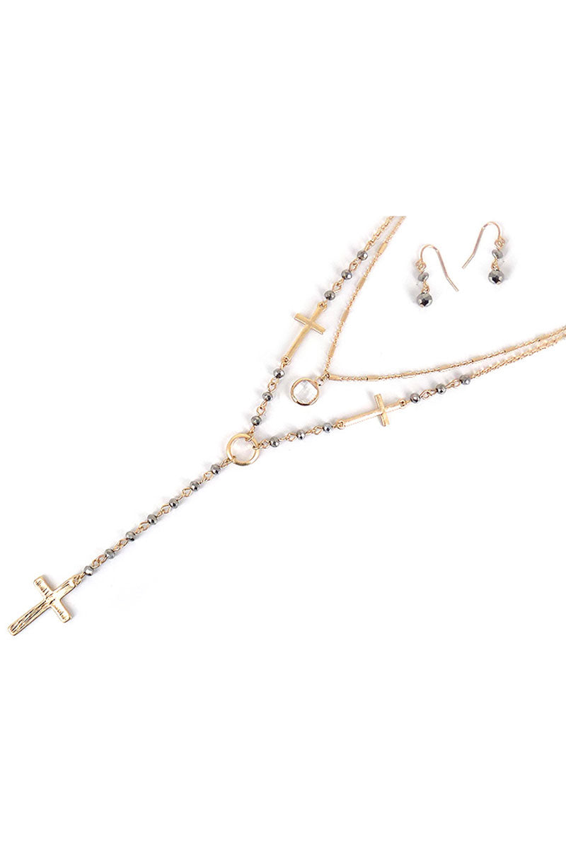 Layered Silver Glass Beaded Goldtone Cross Y Necklace and Earring Set