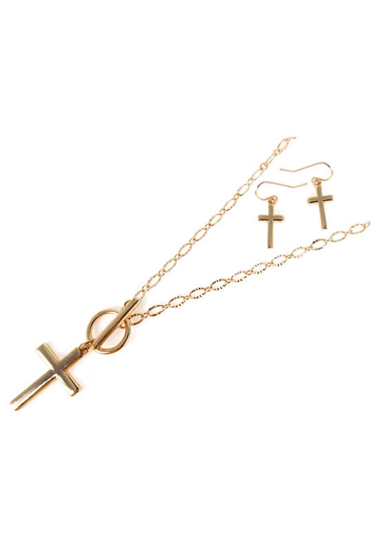 Goldtone Cross Toggle Necklace and Earring Set