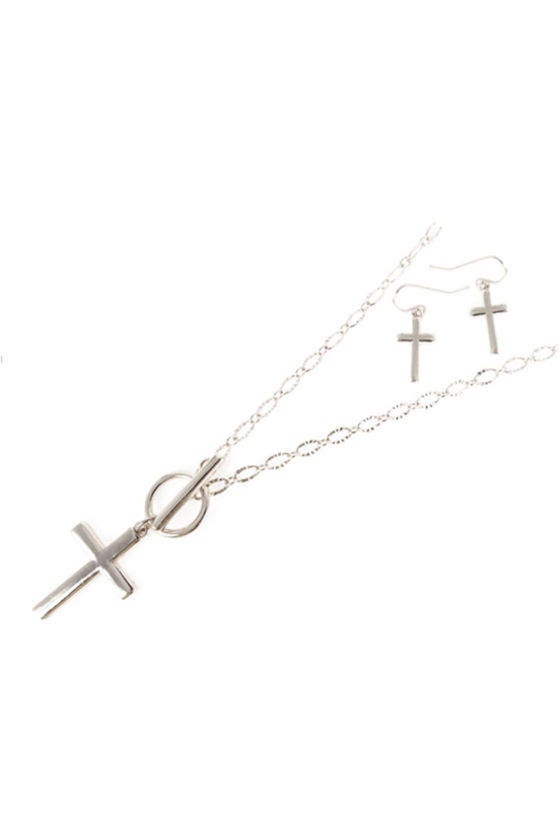 Silvertone Cross Toggle Necklace and Earring Set