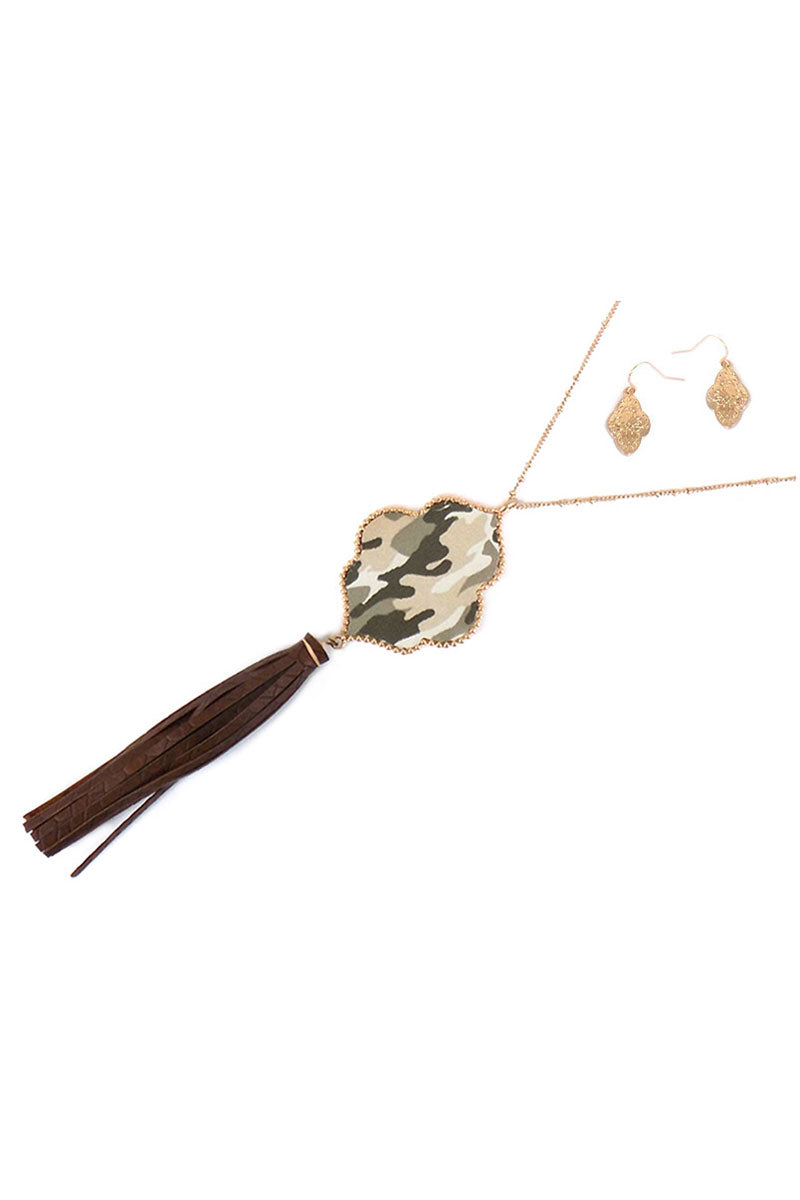 Camo Faux Leather Moroccan Tassel Pendant Necklace and Earring Set