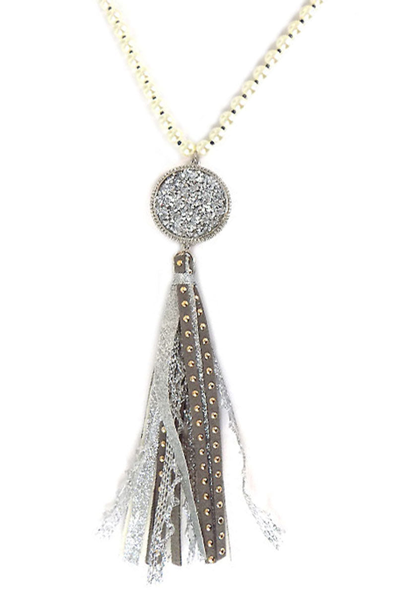 Silvertone Crystal Filled Disk Tassel Pendant Pearl Necklace