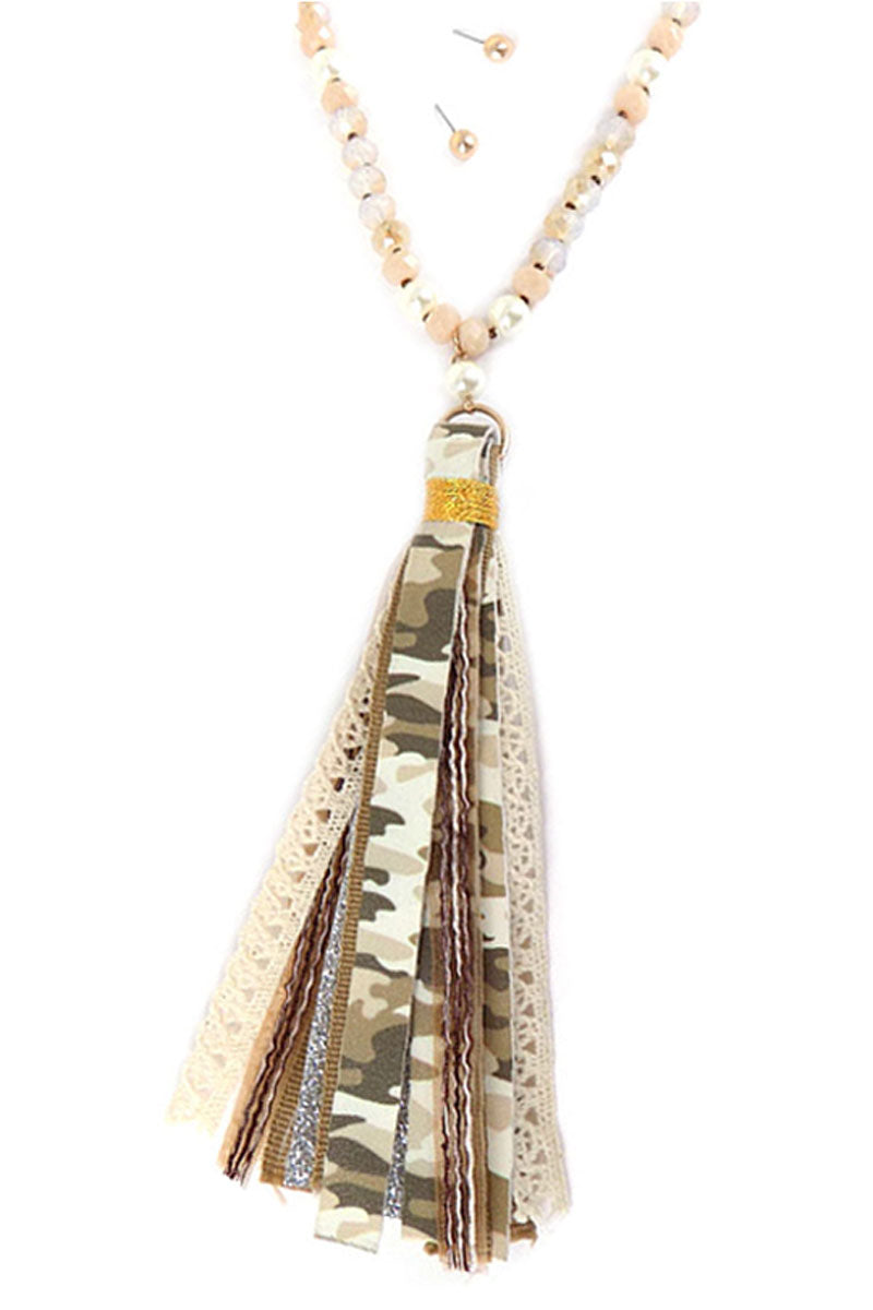 Light Camo Tassel Pendant Faceted Bead Necklace and Earring Set
