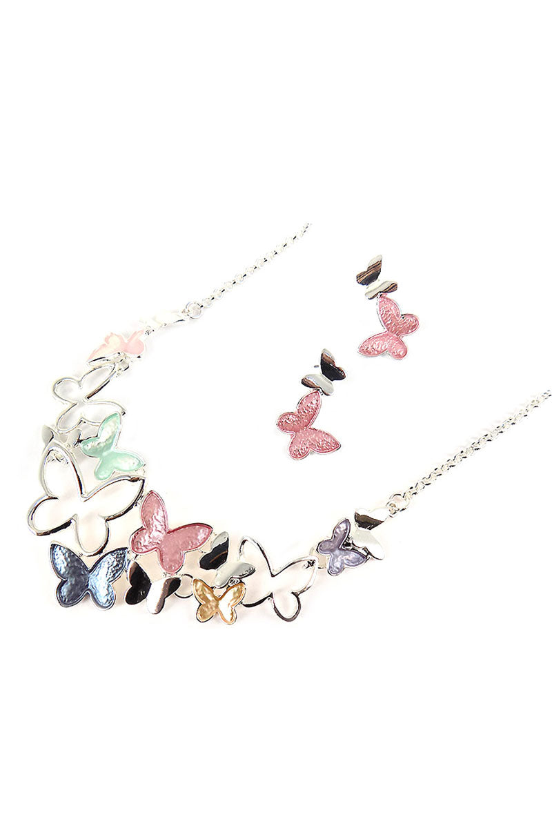 Pastel Spring Butterfly Necklace and Earring Set