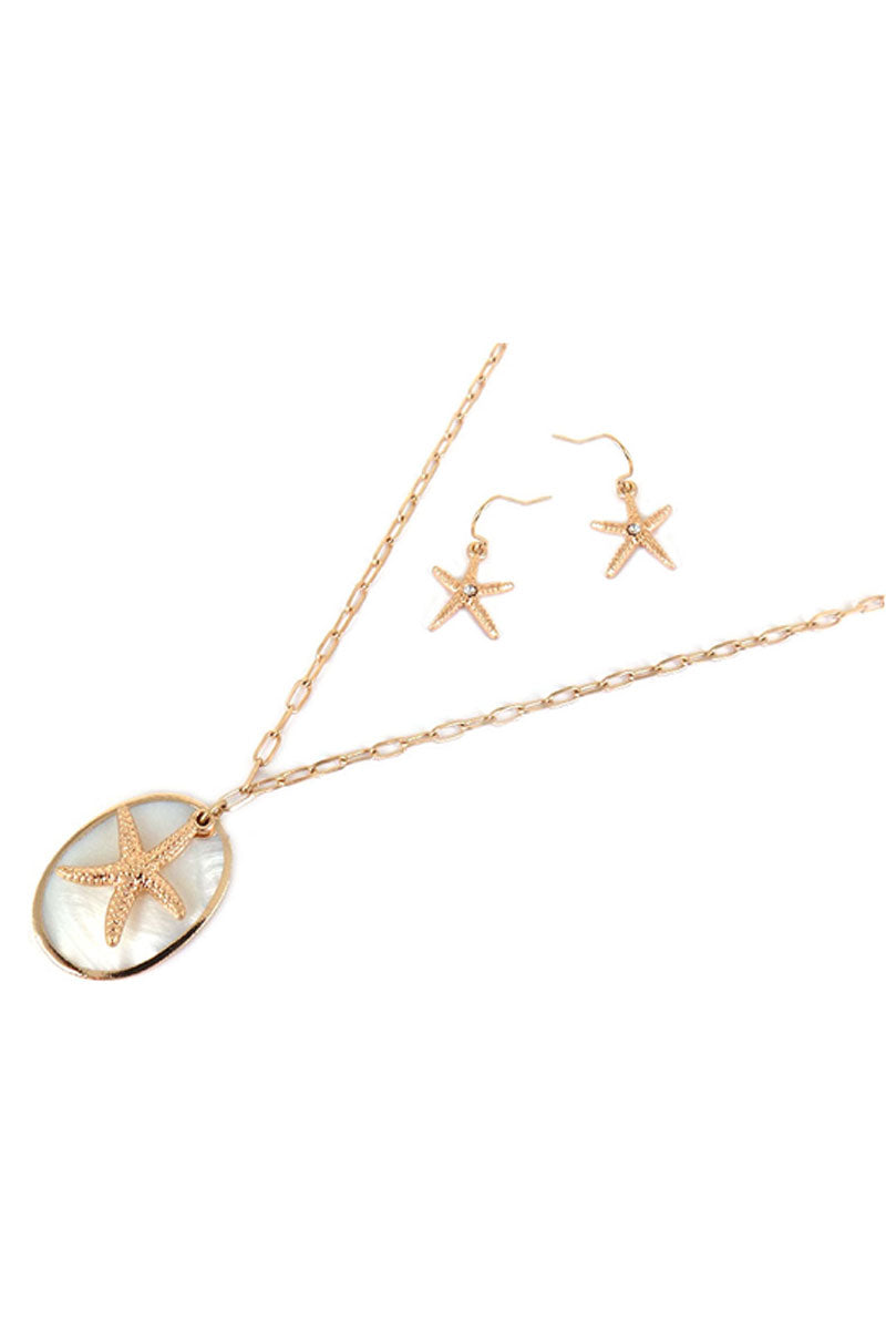 White Shell Oval and Goldtone Starfish Necklace and Earring Set