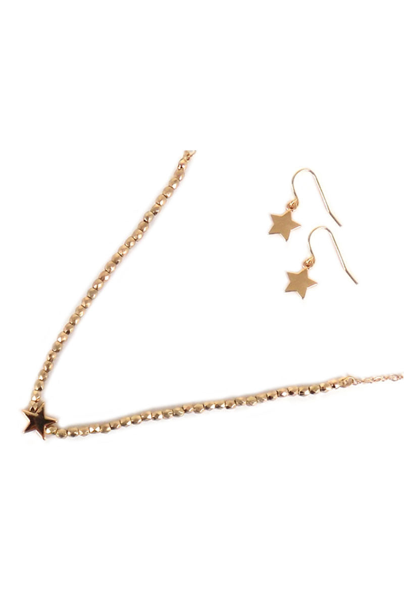 Goldtone Faceted Bead Star Necklace and Earring Set