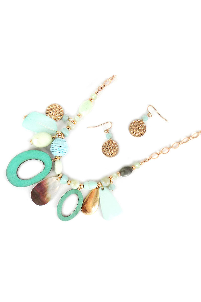Mint Wood Oval and Shell Charm Medley Necklace and Earring Set