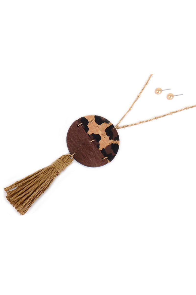 Leopard Cork and Wood Split Disk Tassel Pendant Necklace and Earring Set