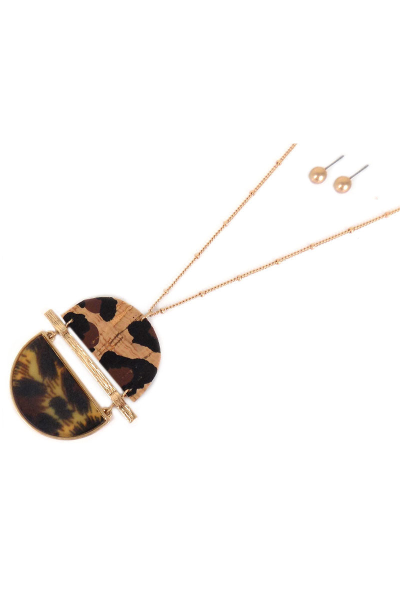 Leopard Cork and Resin Split Disk Necklace and Earring Set