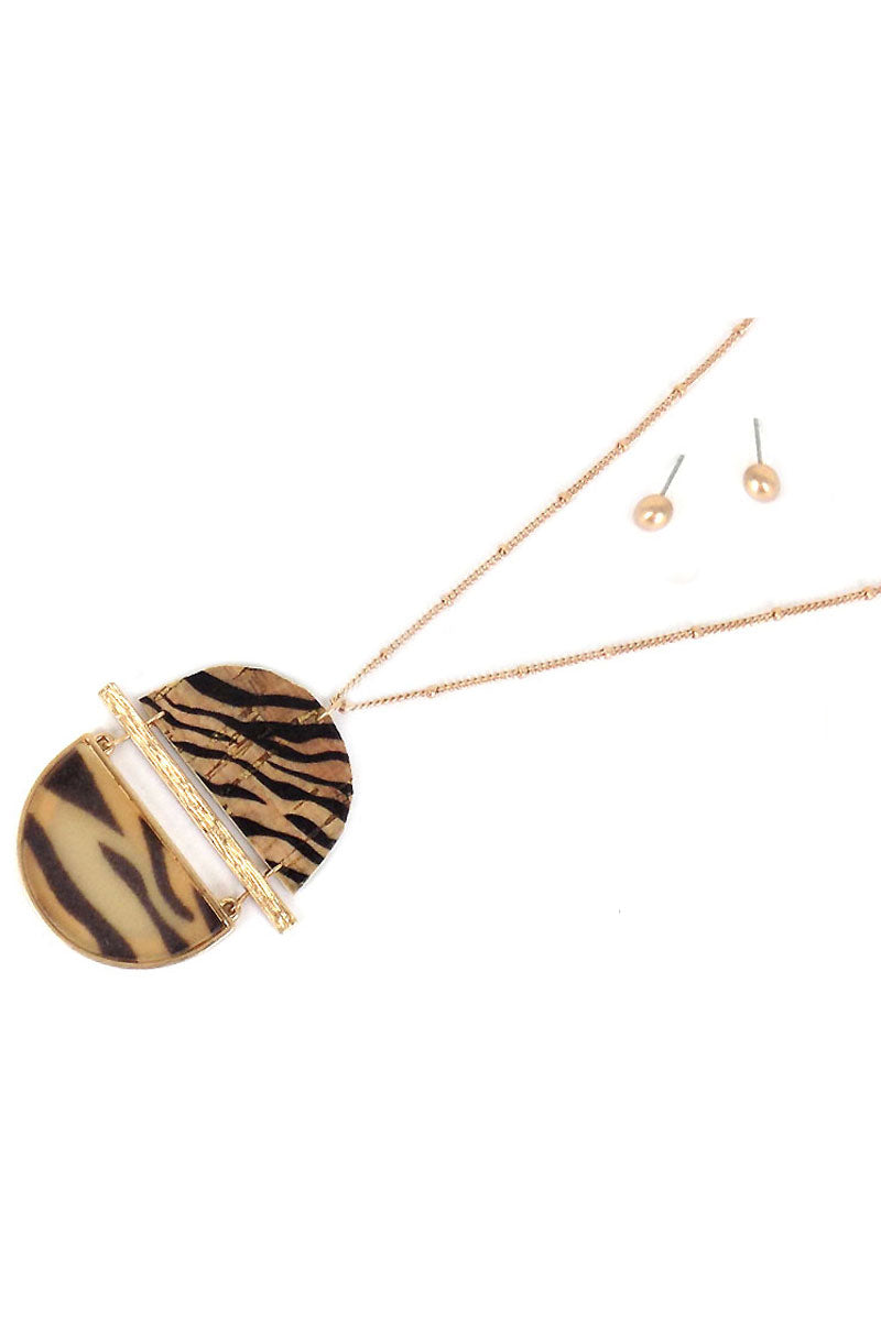 Tiger Cork and Resin Split Disk Necklace and Earring Set