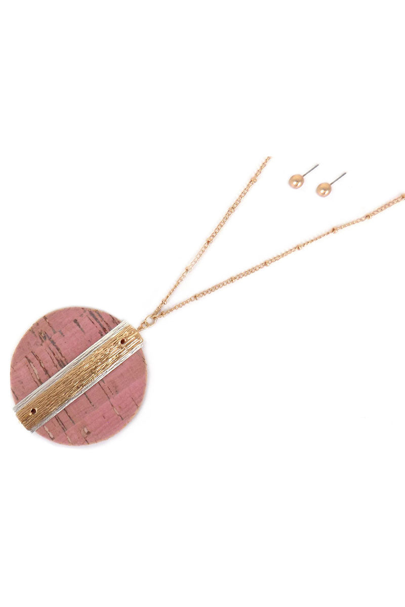 Pink Cork Disk with Two-Tone Bar Necklace and Earring Set