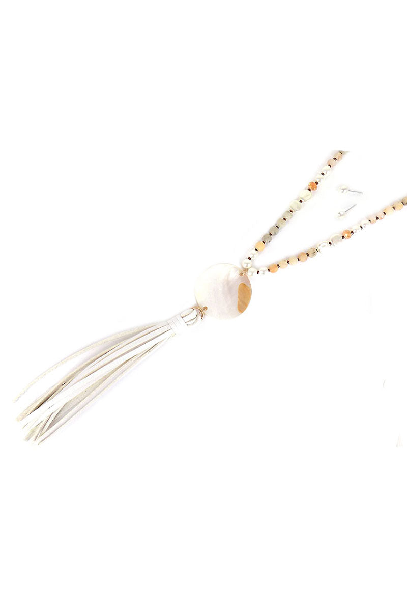 Ivory Shell Disk and Tassel Beaded Necklace and Earring Set