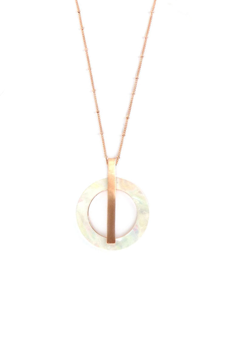 Rose Goldtone Bar and White Shell Circle Necklace and Earring Set