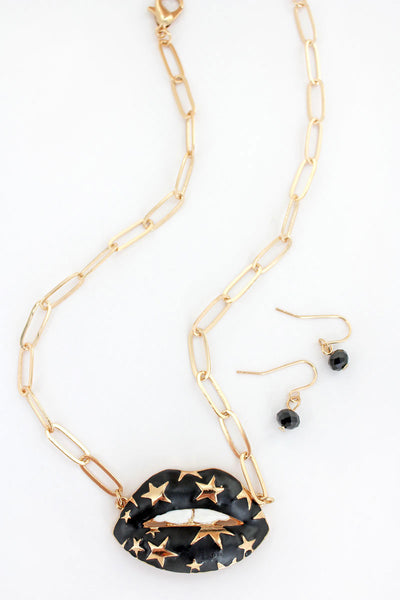 Matte Black and Goldtone Star Lips Necklace and Earring Set