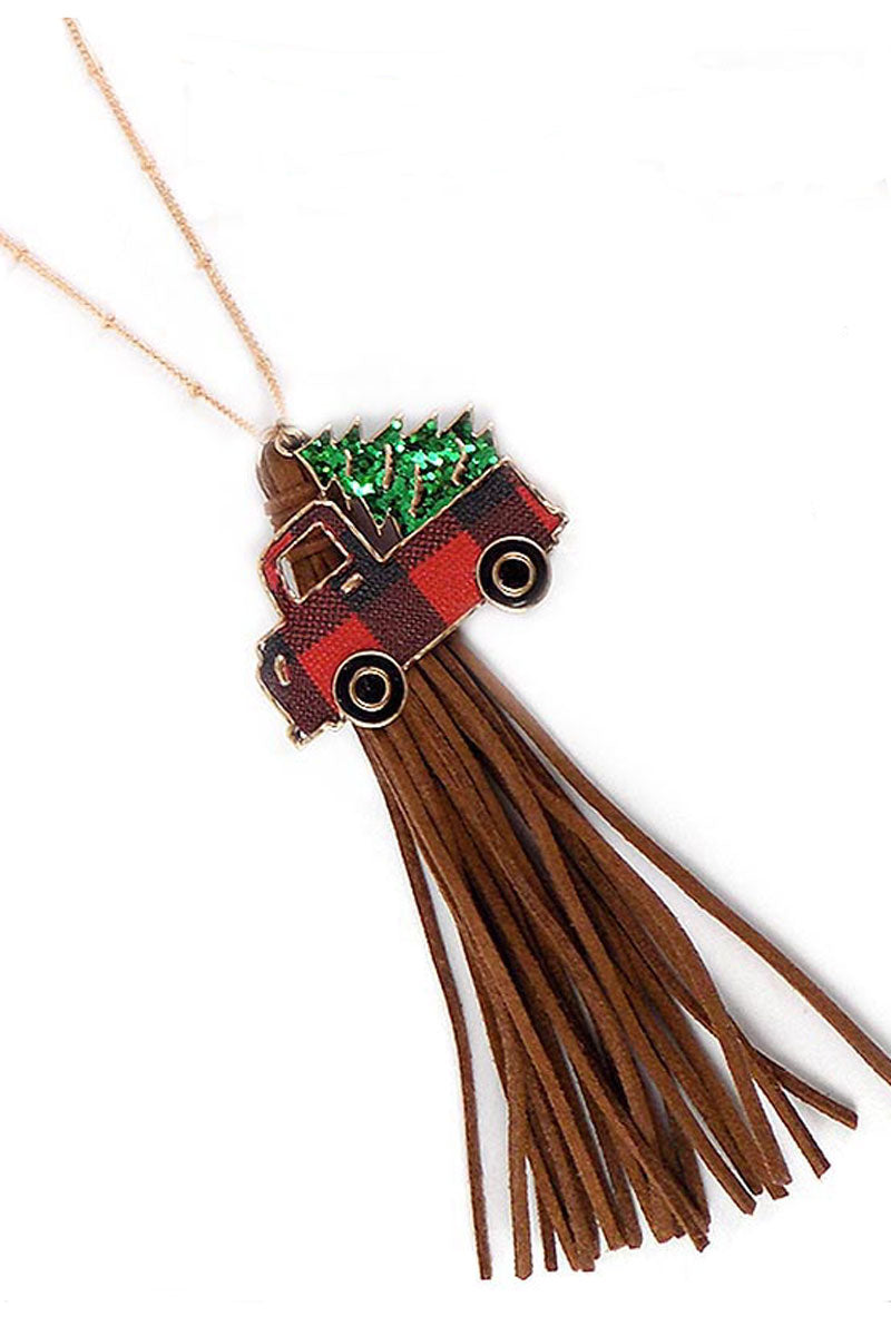 Red Buffalo Plaid Truck with Glitter Tree Tassel Necklace and Earrings Set