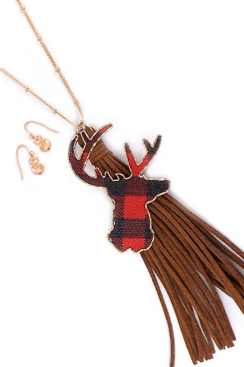 Red Buffalo Plaid Deer Tassel Necklace and Earrings Set