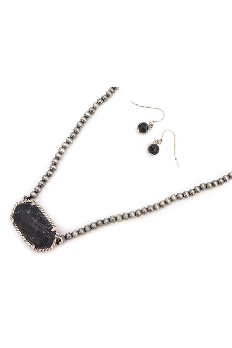 Black Adarra Silver Pearl Necklace and Earring Set