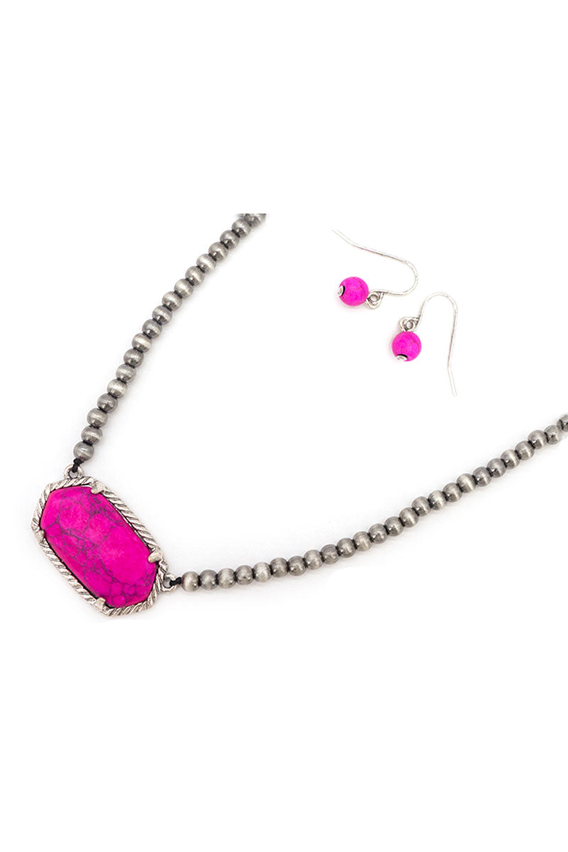 Fuchsia Adarra Silver Pearl Necklace and Earring Set