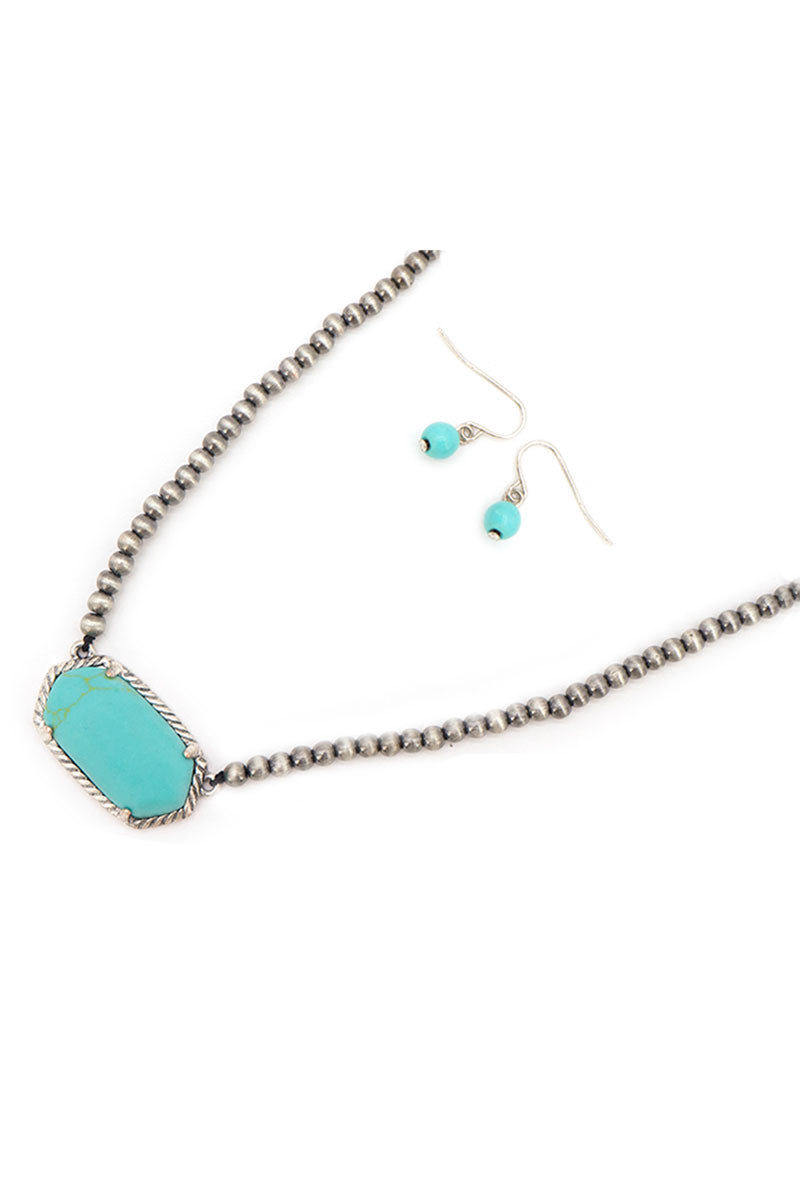 Turquoise Adarra Silver Pearl Necklace and Earring Set