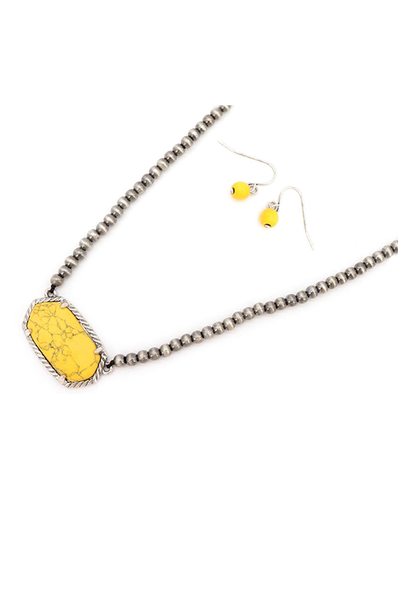 Yellow Adarra Silver Pearl Necklace and Earring Set