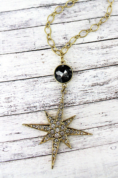 Black Gemstone and Crystal Goldtone North Star Pendant Necklace
