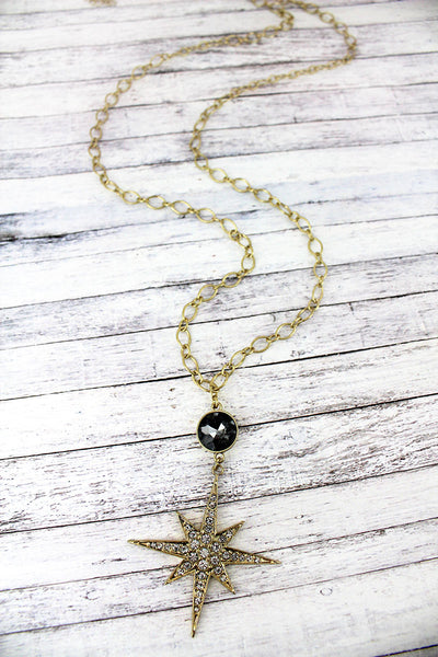 SALE! Black Gemstone and Crystal Goldtone North Star Pendant Necklace